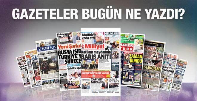 Gazete manşetleri 13 Ekim 2015
