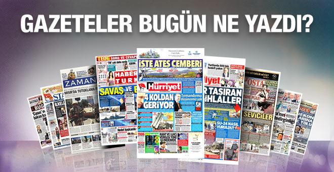 Gazete manşetleri 26 Kasım 2015