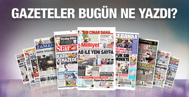 Gazete manşetleri 30 Kasım 2015