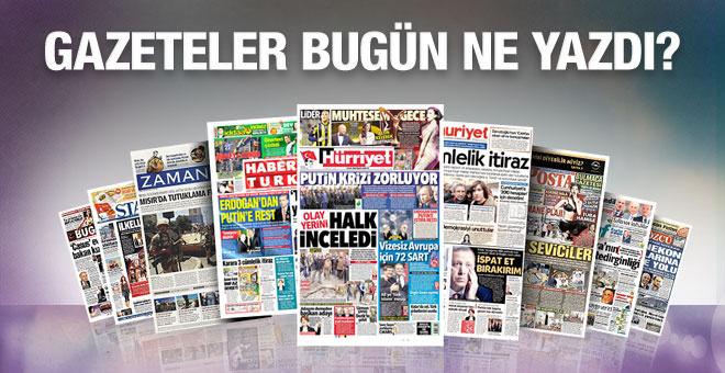 Gazete manşetleri 1 Aralık 2015