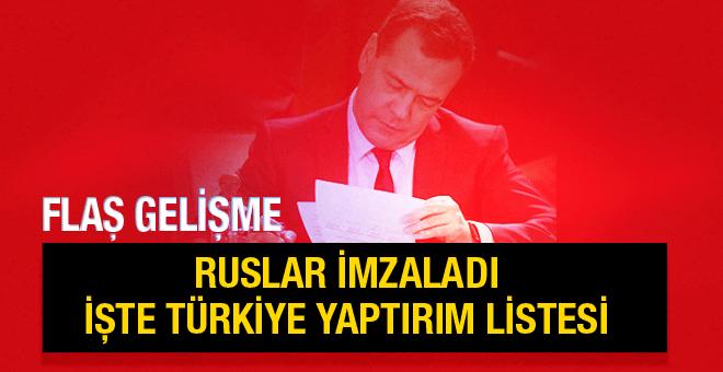 Medvedev'den flaş Türkiye imzası işte liste