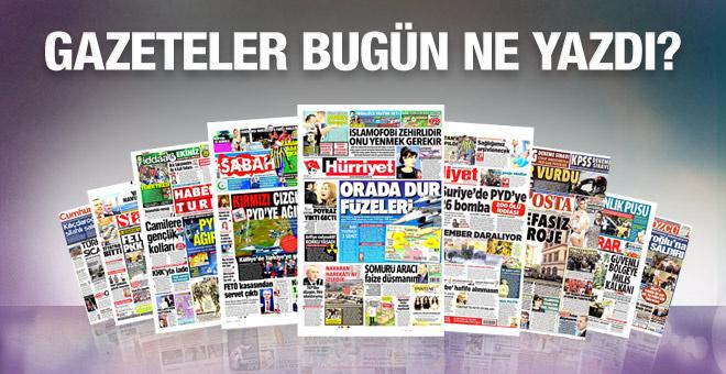 Gazete manşetleri 21 Ekim 2016 bugünkü gazeteler