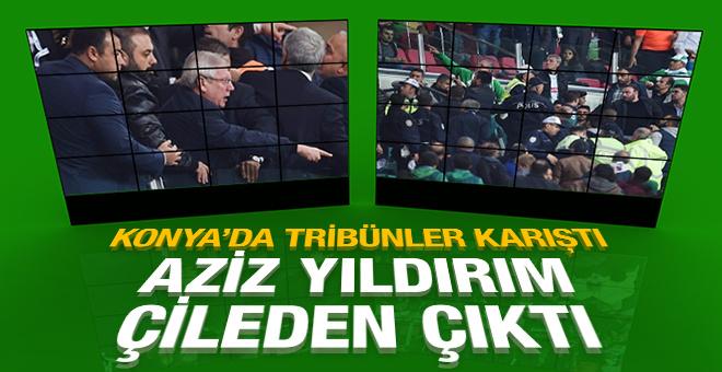 Konya'da tribünler karıştı! Aziz Yıldırım çileden çıktı!