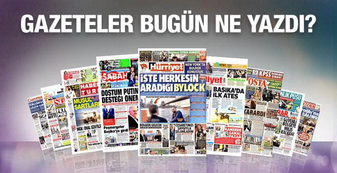 Gazete manşetleri 25 Ekim 2016 bugünkü gazeteler