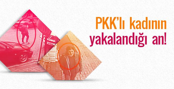 Bombalı eyleme gelen PKK'lı kadının yakalanma anı...