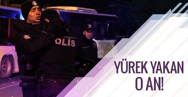 İstanbul'daki saldırıda yürek yakan anlar! Polisler birbirine sarılıp...