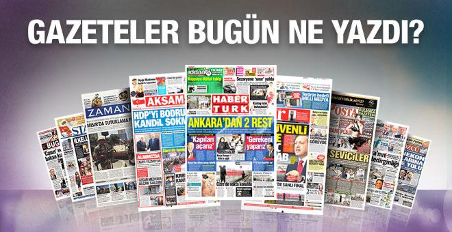Gazete manşetleri 12 Şubat 2016