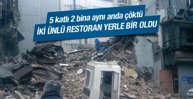 Taksim'de iki bina çöktü dehşet anları