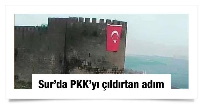 Diyarbakır da Sur Kalesi ne dev bayrak