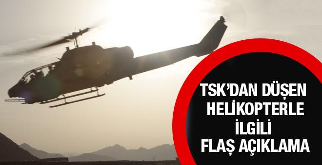 TSK: Helikopter füzeyle düşürülmüş olabilir