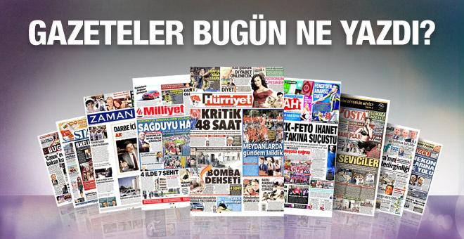 Gazete manşetleri 02 Mayıs 2016 bugünkü gazeteler