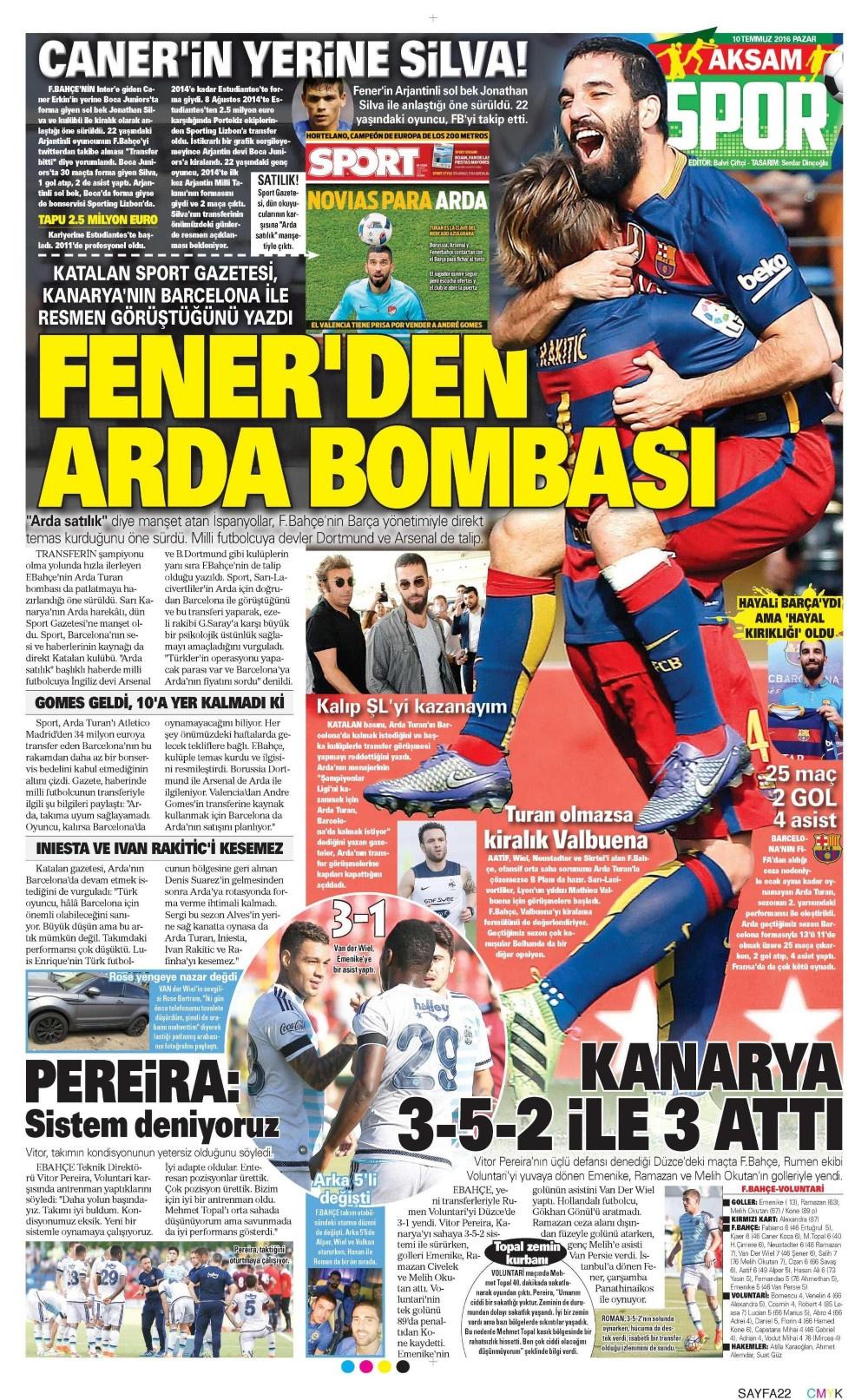 Spor gazetelerinde günün manşetleri