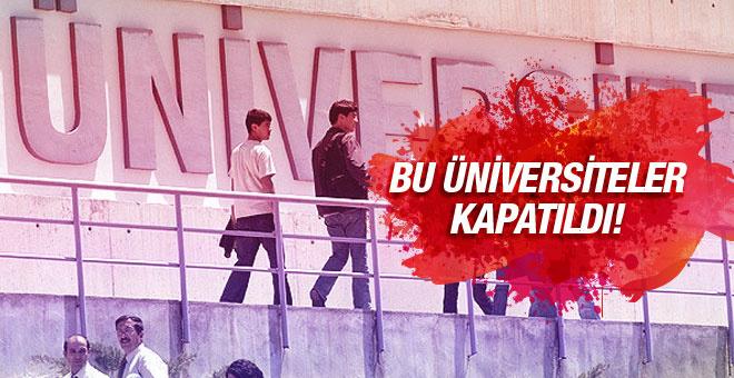 OHAL sonrası kapatılan üniversiteler!