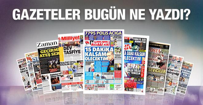 Gazete manşetleri 24 Temmuz 2016 bugünkü gazeteler