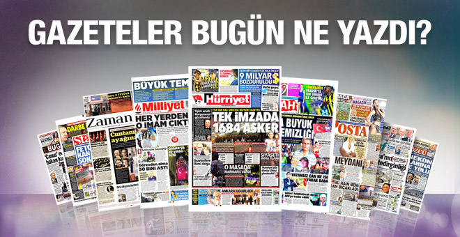 Gazete manşetleri 28 Temmuz 2016 bugünkü gazeteler