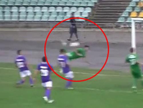 Ukraynalı futbolcu akrep vuruşuyla gol attı