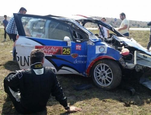 Eskişehir Rallisi'ndeki korkunç kaza anı kamerada!