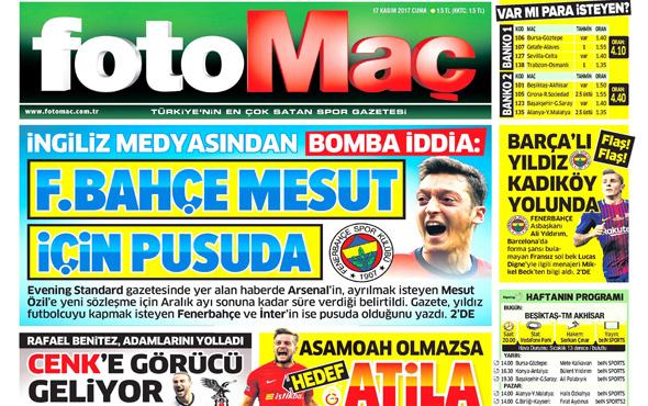 Günün spor gazete manşetleri! 17 Kasım 2017