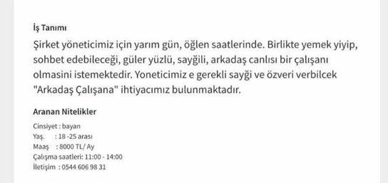 Türk iş ilanı sitesinde skandal 'Ayda 8000 TL maaşla metres...'