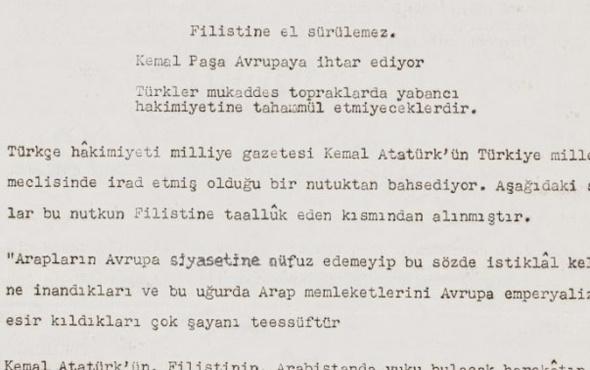 Atatürk Filistin için rest mi çekti! İşin aslı anlaşıldı
