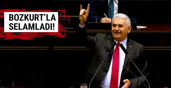 Başbakan Yıldırım'dan bozkurt işareti!
