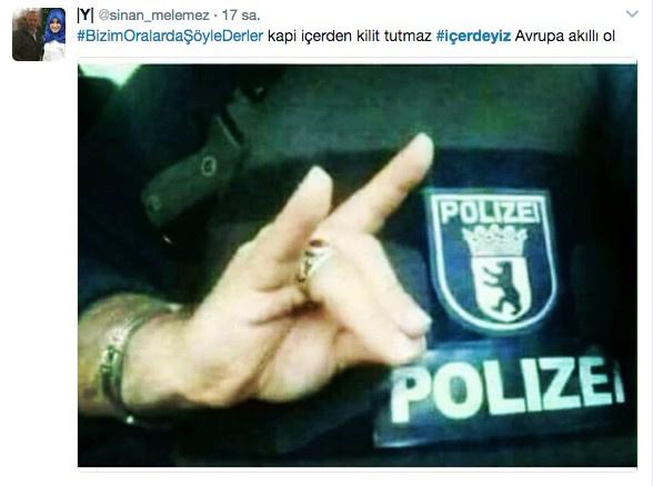 Bozkurt işareti yapan Alman polisi 'içerdeyiz sıkıntı yok'