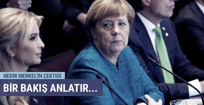 Dünya Merkel'in Ivanka'ya bakışlarını konuşuyor