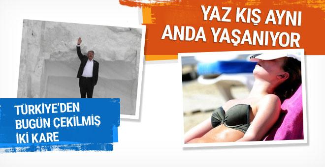 Bu iki karede Türkiye'den yaz ve kış mevsimi bir arada