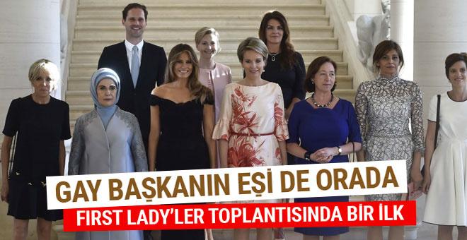 First Lady'ler toplantısındaki tek erkek! Gay başkanın eşi orada