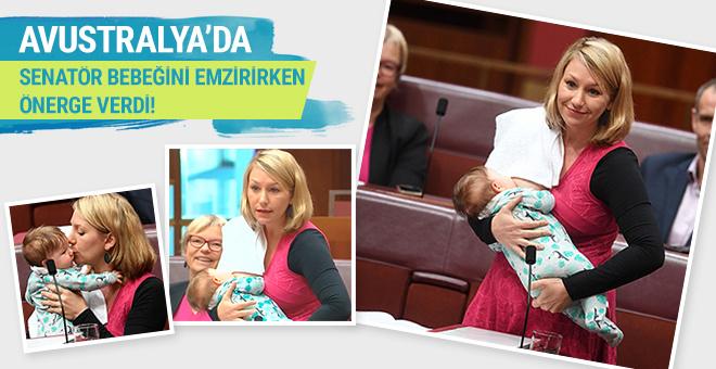 Avustralyalı senatör bebeğini emzirirken önerge verdi!