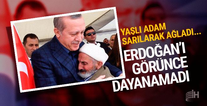 Erdoğan'ı görünce gözyaşlarını tutamadı yaşlı adam sarılarak...