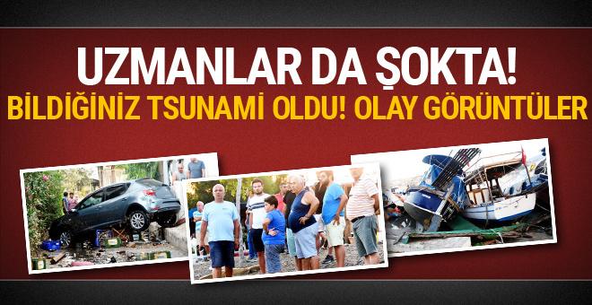 Bodrum'da deprem sonrası tsunami onlarca araç ve tekne sürüklendi
