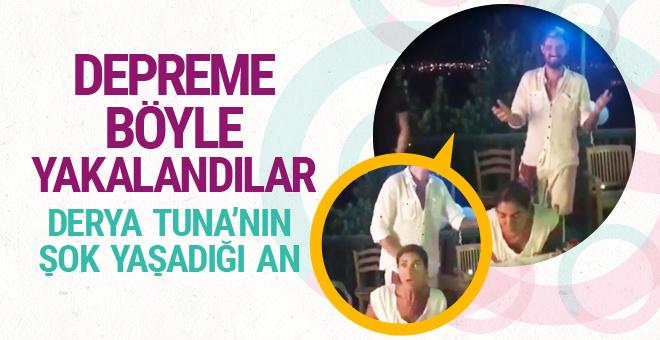 Derya Tuna Bodrum'da pasta üflerken depreme yakalandı