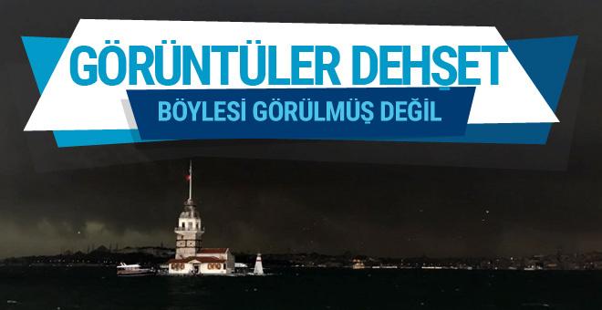 İstanbul fırtına görüntüleri dehşete düşürdü