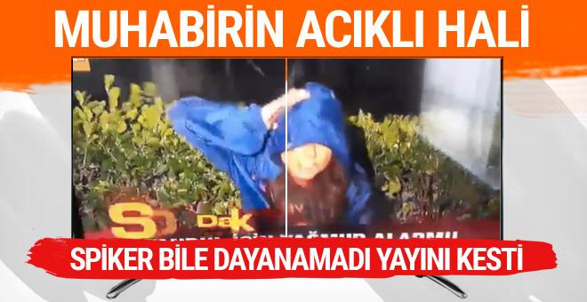 Canlı yayında kafasına dolu yedi ATV muhabirinin perişan hali