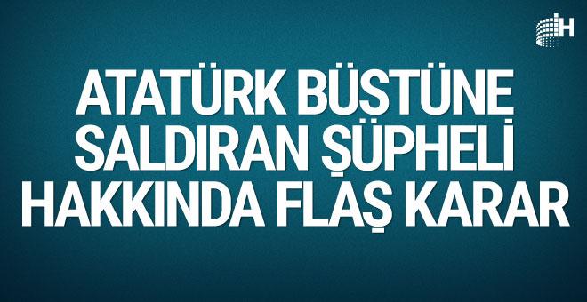 Atatürk büstüne saldıran şüpheli gözetim altına alındı