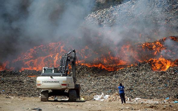 Bodrum'da katı atık depolama alanında yangın