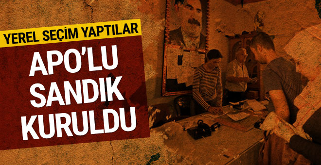 Suriye'de Öcalan posteri önünde seçim sandığı kuruldu...