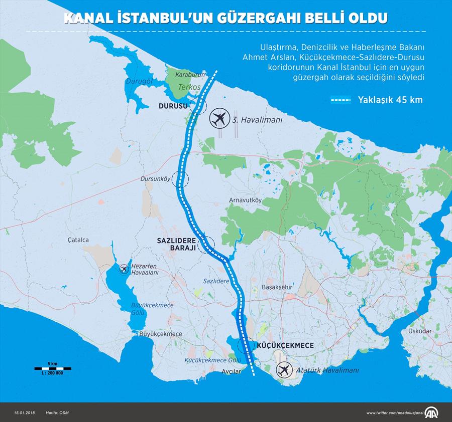 Kanal İstanbul haritasına bakın! Güzergahında dikkat çeken 2 yer