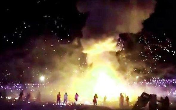 Sıcak hava balonları patladı festival alanı mahşer yerine döndü