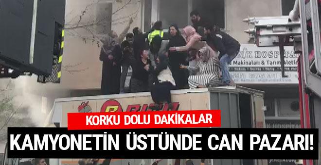 Arnavutköy'de yangın dehşeti! Kamyonetin üstüne atladılar
