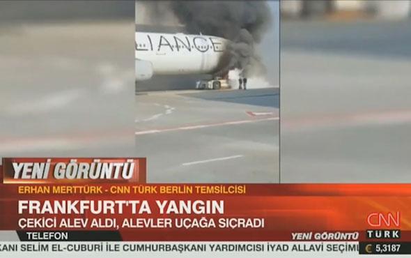 Frankfurt Havalimanı'nda korkutan yangın alevler uçağa sıçradı