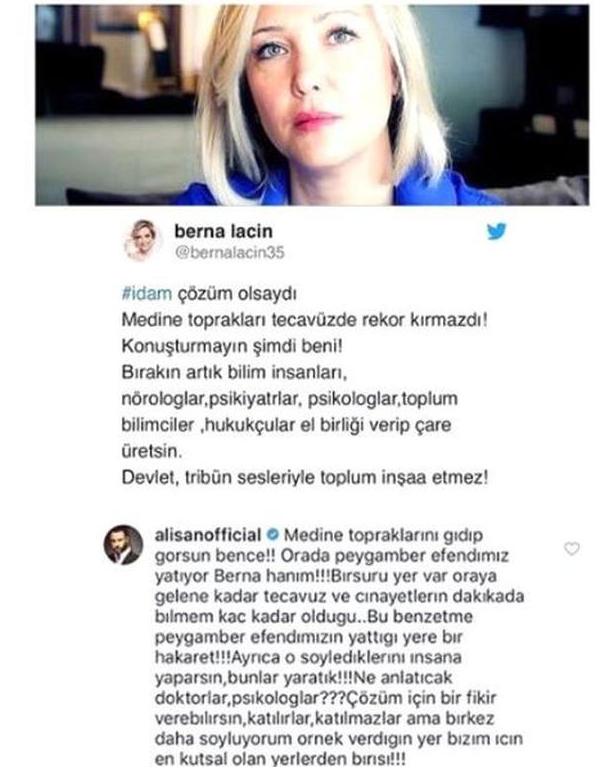 Berna Laçin ve Alişan'ın idam kapışması! Attığı tweete bakın