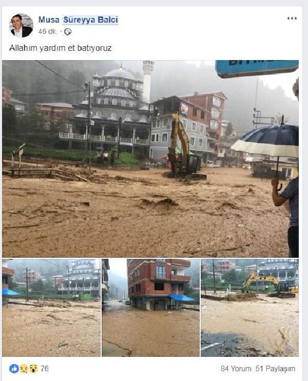 Rize'de sel felaketi başkan bu mesajı attı: Batıyoruz!