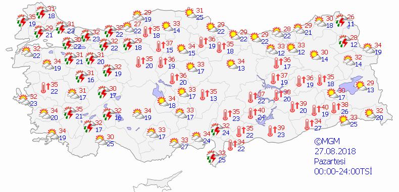 27 Ağustos hava durumu raporu Meteroloji'den 14 ile uyarı