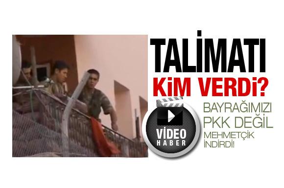 İşte Türk bayrağının indirildiği skandal görüntü