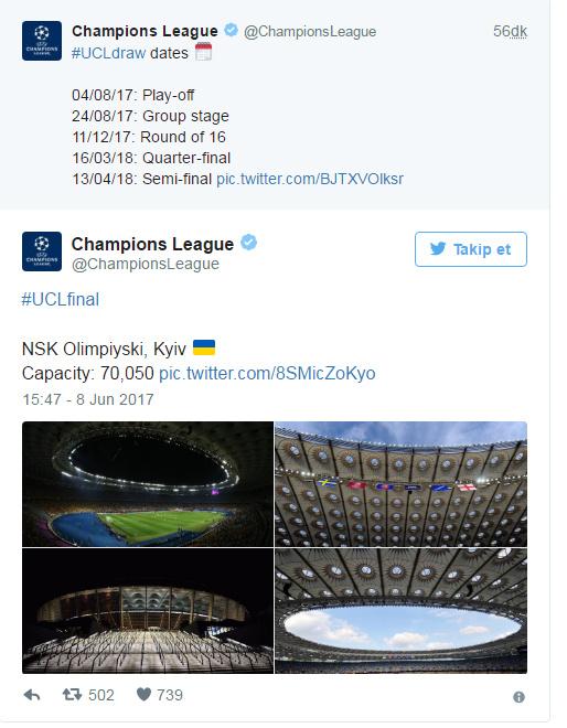 2018 Şampiyonlar Ligi finali Kiev'de oynanacak