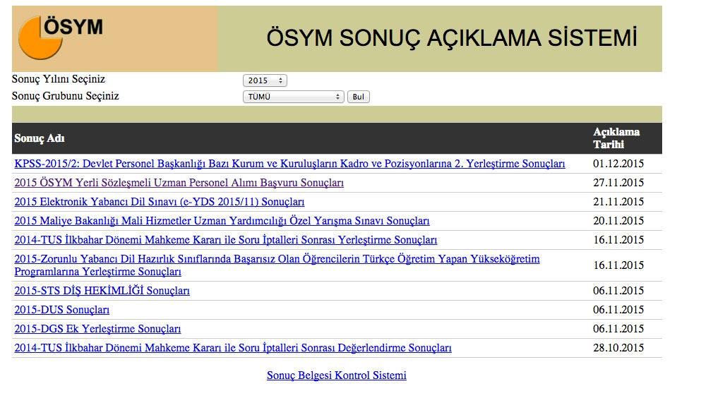 Ales sonuçları 2015 ösym sorgu ekranı sonuc.osym.gov.tr'de
