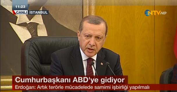 Cumhurbaşkanı Recep Tayyip Erdoğan, ABD ziyareti öncesi Atatürk Havalimanı'nda basın toplantısı düzenledi.