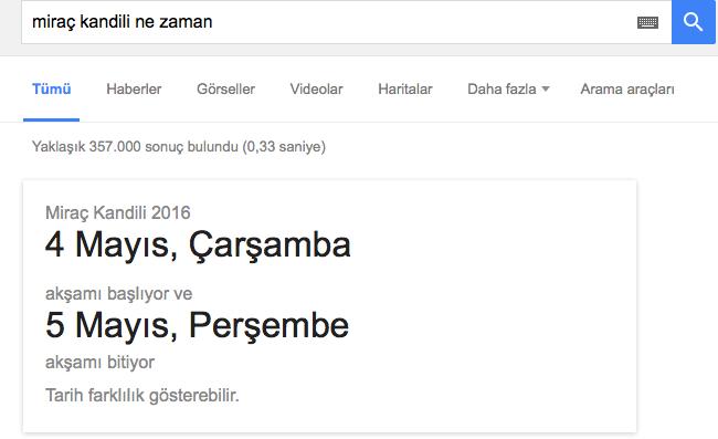 google miraç kandili ne zaman